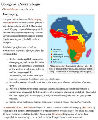 Sprogene i Mozambique